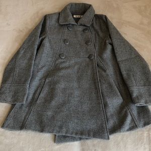 Girls grey peacoat button front closure size small